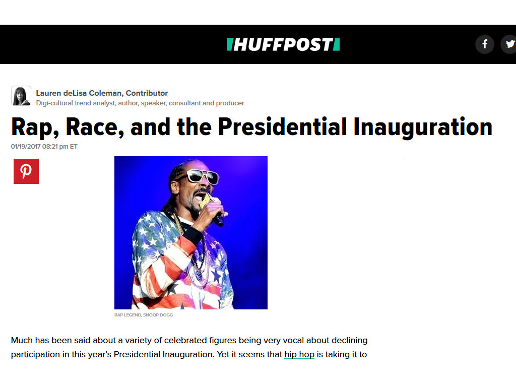 Screenshot of Huffpost Article 'Rap,Race and Presidential Inauguration' written by Lauren deLisa Coleman